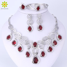 4Color African Beads Jewelry Sets For Women Crystal Necklace Water drop Pendents Party Earring Bracelet Bridal Ring Set
