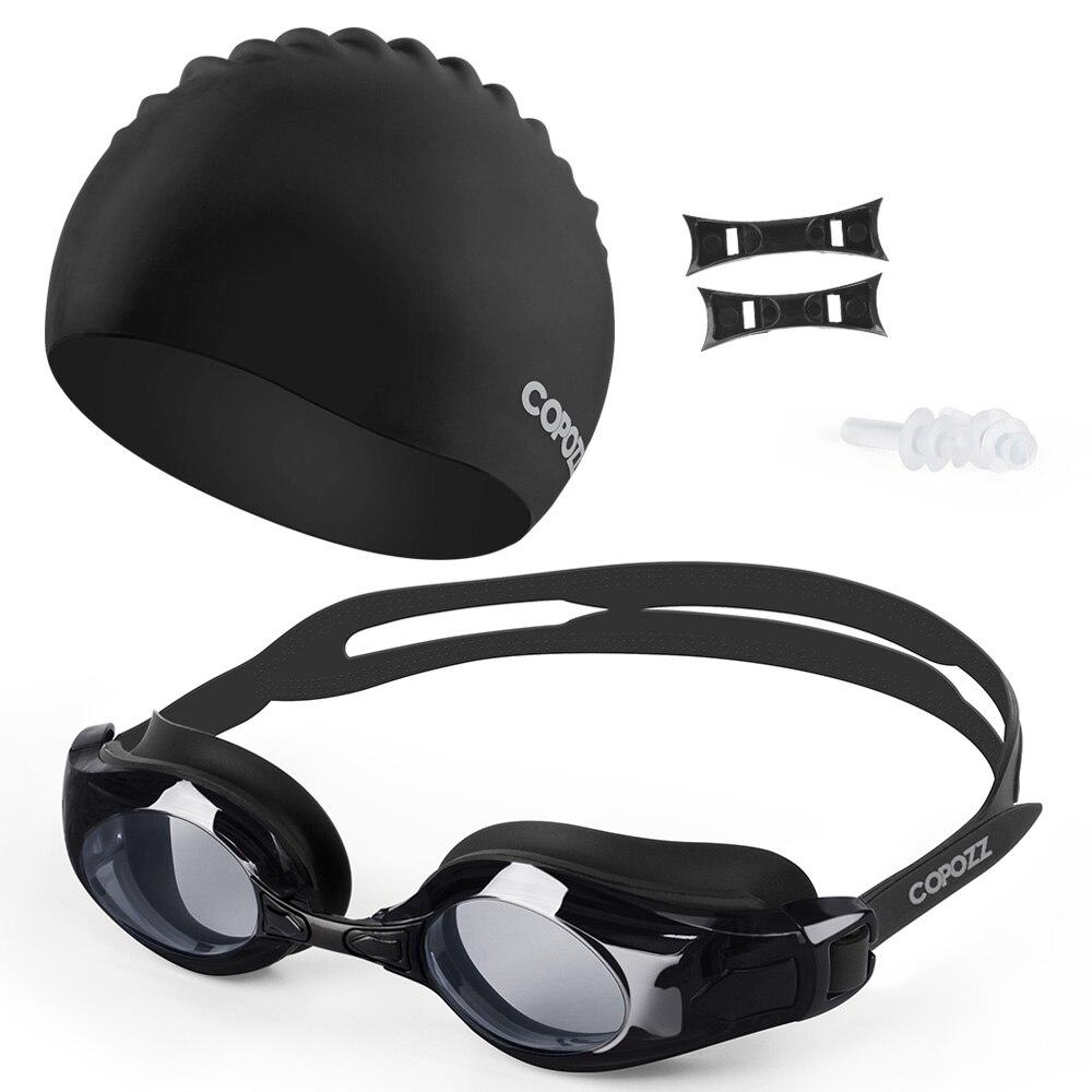 Copozz Myopia Swimming Goggles Silicone Cap Ear Plug Suit Waterproof Swim Glasses Anti-fog Nearsighted Sport Swim Pool Adult