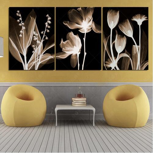 3 ks malba umění abstraktní květiny domácí výzdoba plátno tisk modulární malba nástěnné obrazy dekorace pro obývací pokoj bez rámečku