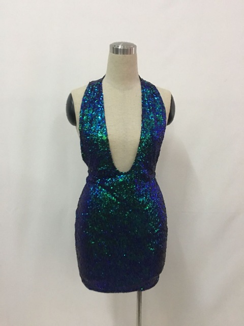 Sexy Sequin Fringe Lace Winter Dress Women Halter Chic Party Dresses Female Elegant Autumn See Through Short Dress 2019