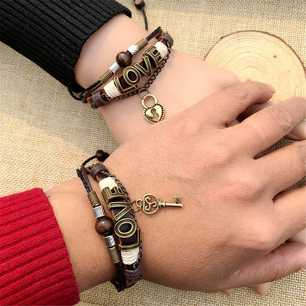 BRT0073 12Pair/Pack Wholesale Love Bracelet For Couple Lovers Heart Gifts Leather Bracelet Jewelry