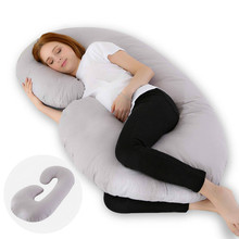 C-Shape Grey Full Body Pregnancy Pillow with Jersey Cover Comfatable maternity body pillow-Dropship