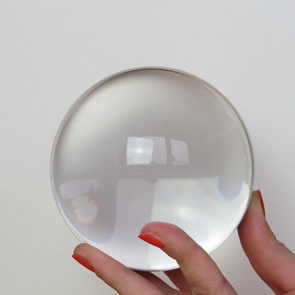 Mm clear crystal glass ball paperweights figurine feng