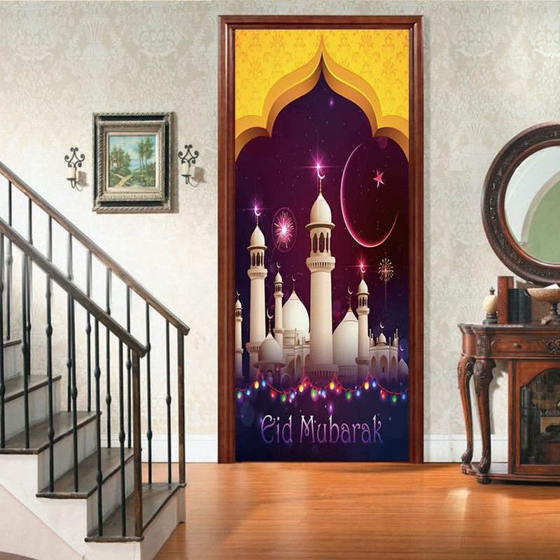 Palacio 3D Musulmanes Feliz Eid Mubarak Etiqueta de La Puerta Ramadan - Decoración del hogar