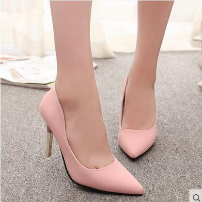 2016 nueva primavera sexy thin Point heel Toe flock women shoes moda mujeres zapatos de tacón alto bombas de trabajo parte de compras libres