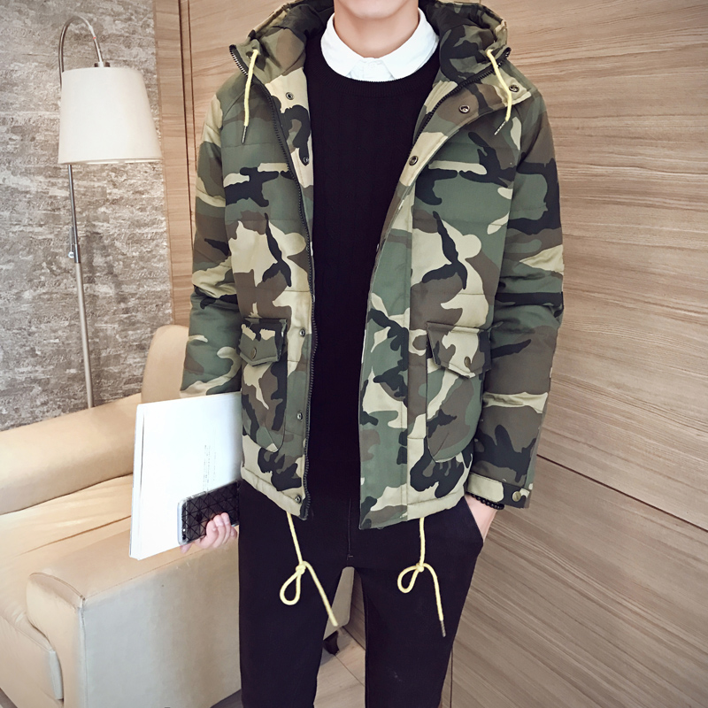 ФОТО New arrival 2017 fashion camouflage cotton padded winter jacket men parka homme with hooded men's clothing size m-5xl MF9