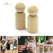 10pcs Wooden Unfinished DIY Craft Peg Dolls Wood Toy Arts Sewing Crafts Boy Doll Puppet Bases Cute Bobble Head