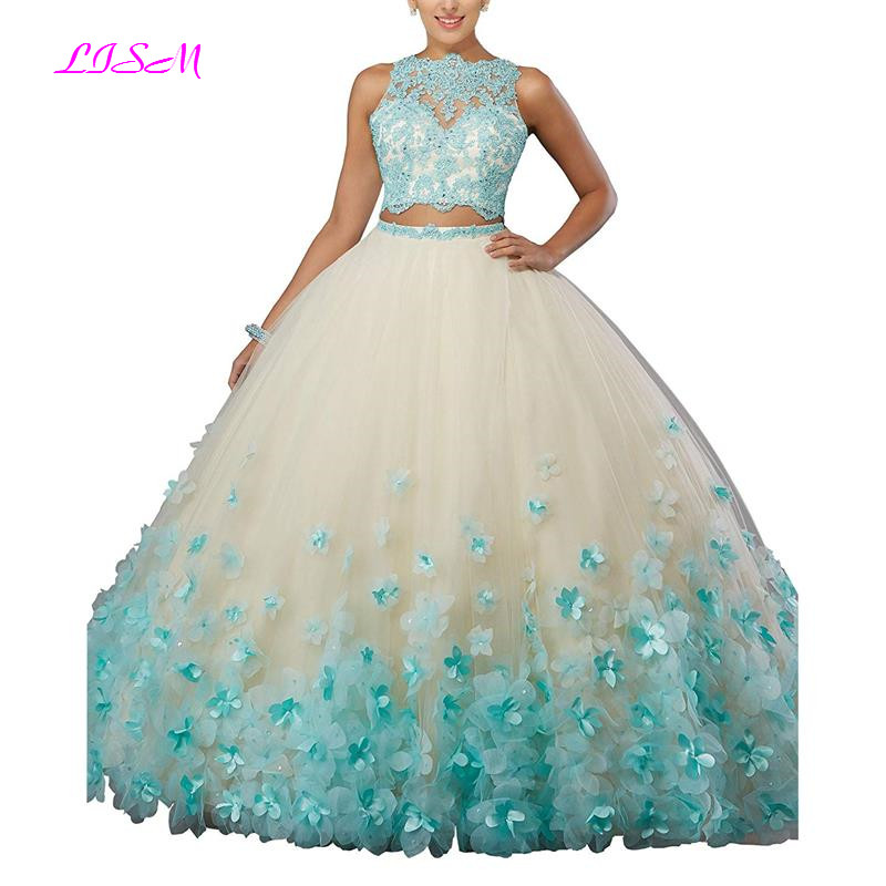 Image 2 - Sweet vestido debutante Ball Gown Two Pieces Organza Quinceanera Dress O neck Long 3D Flowers Sweet 16 Dress Vestidos De 15 Anos-in Quinceanera Dresses from Weddings & Events