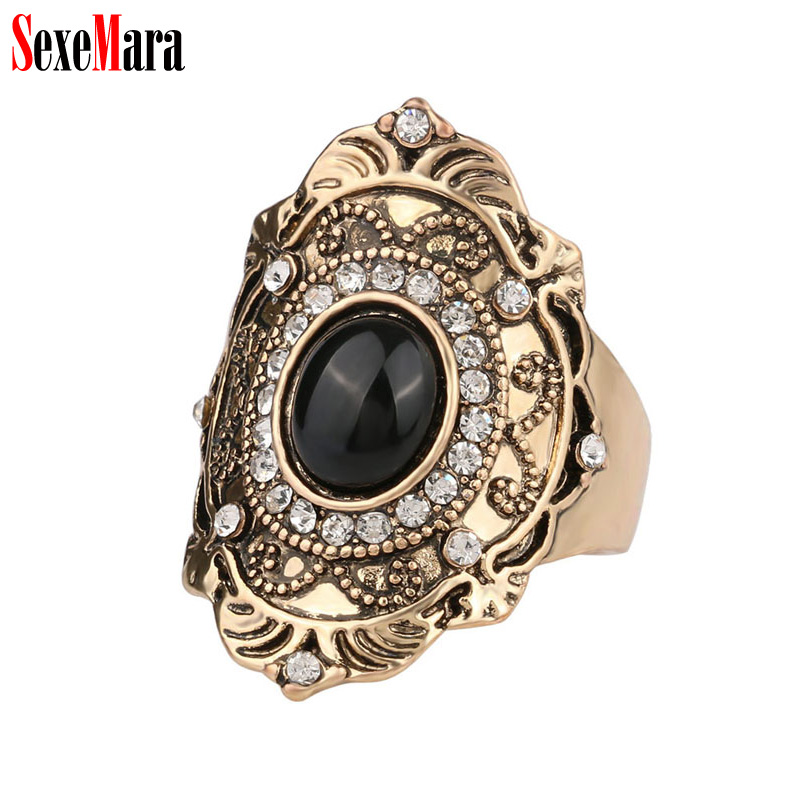 SexeMara Crystal Rhinestone Ring Women Men Vintage Alloy Plated Antique Gold Finger Rings for Ladies Female Jewelry Wholesale