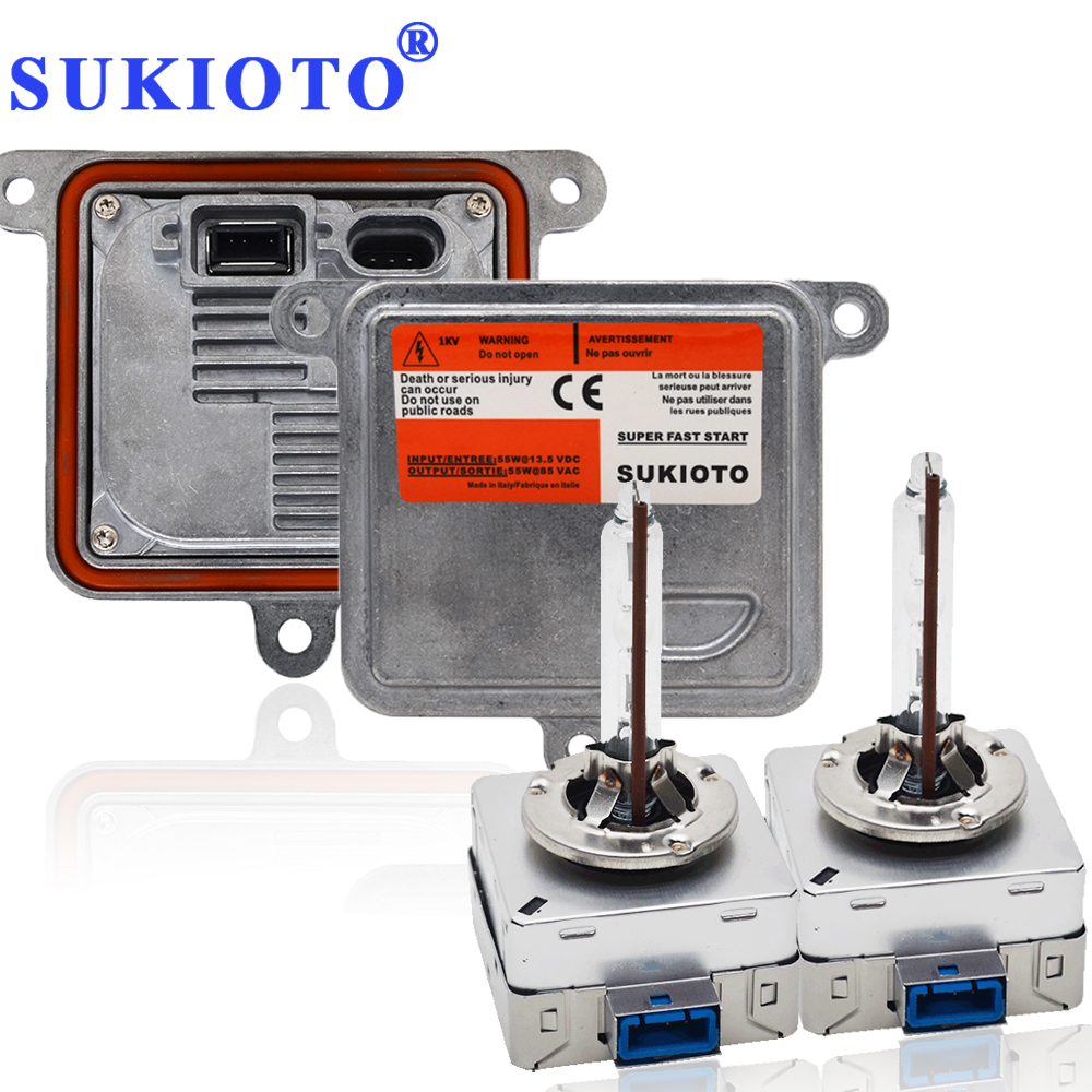SUKIOTO Original OEM D8S Xenon HID Headlight Bulb Kit 55W D1S D3S Metal hid Ballast kit control Unit 5500K Car Styling hid bulbs цены