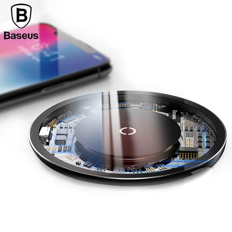 Baseus 10 Вт Qi Беспроводной Зарядное устройство для iPhone X/8 Видимый быстро Беспроводной зарядного устройства для samsung S9/ s9 + S8 примечание 9 + 8 Xiaomi huawei