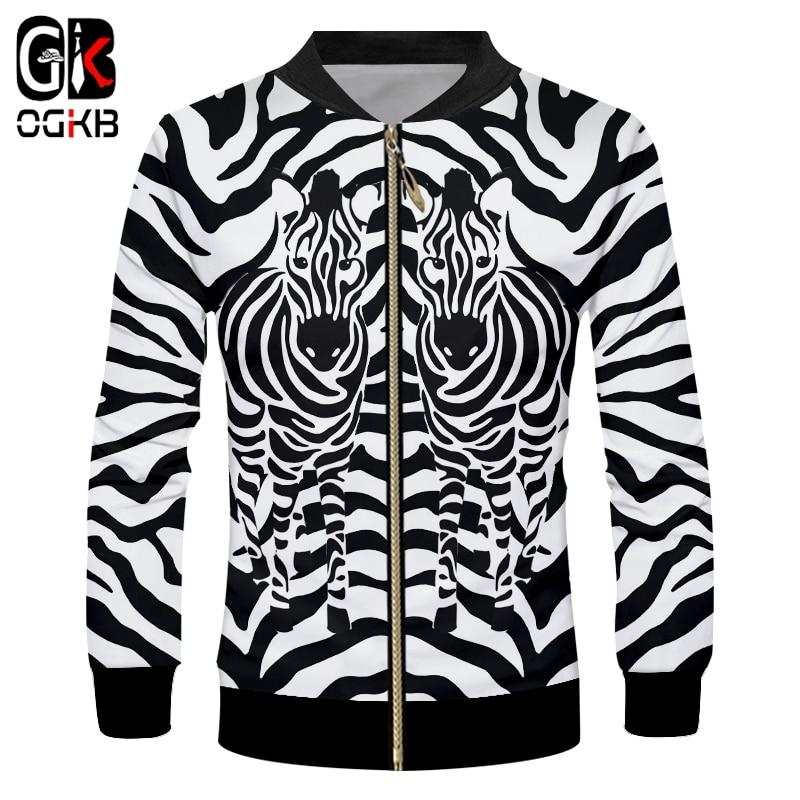 OGKB Jackets Hombre New Long Sleeve Hooded Leopard 3D Outwear Print Zebra Stripes Hip Hop 6XL Garment Hombre Autumn Coat