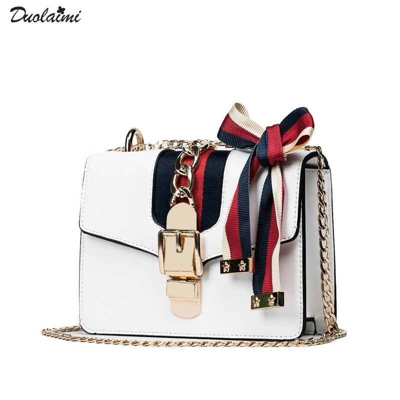 New white chain lock diagonal women's bag female contrast ribbon Leather Bags Handbags Women Small Crossbody Shoulder bag 50X001 qiaobao 2018 new korean version of the first layer of women s leather packet messenger bag female shoulder diagonal cross bag