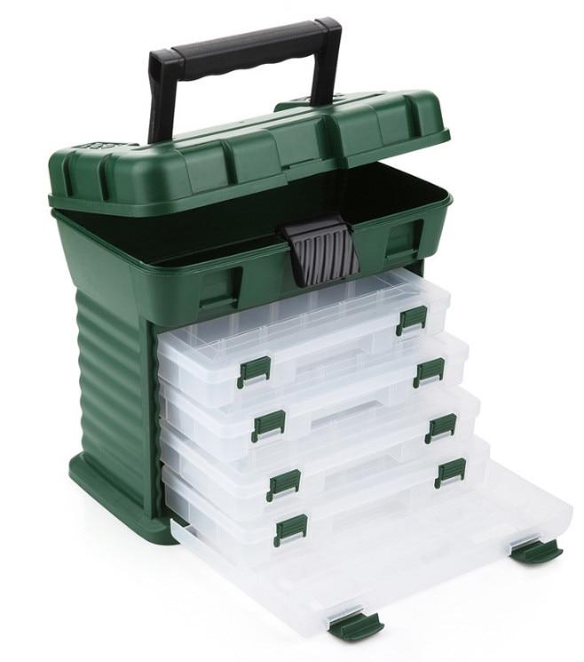Высокое качество Портативный открытый Пластик 5-layer большой Рыбалка Шестерни коробка для хранения большой Ёмкость с ручкой футляр для рыбол...