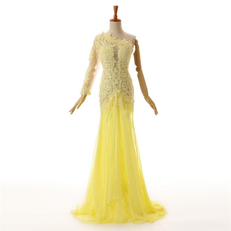 Yellow Evening Dresses 2019 Mermaid One-shoulder Chiffon Appliques See Through Long Evening Gown Prom Dresses Robe De Soiree
