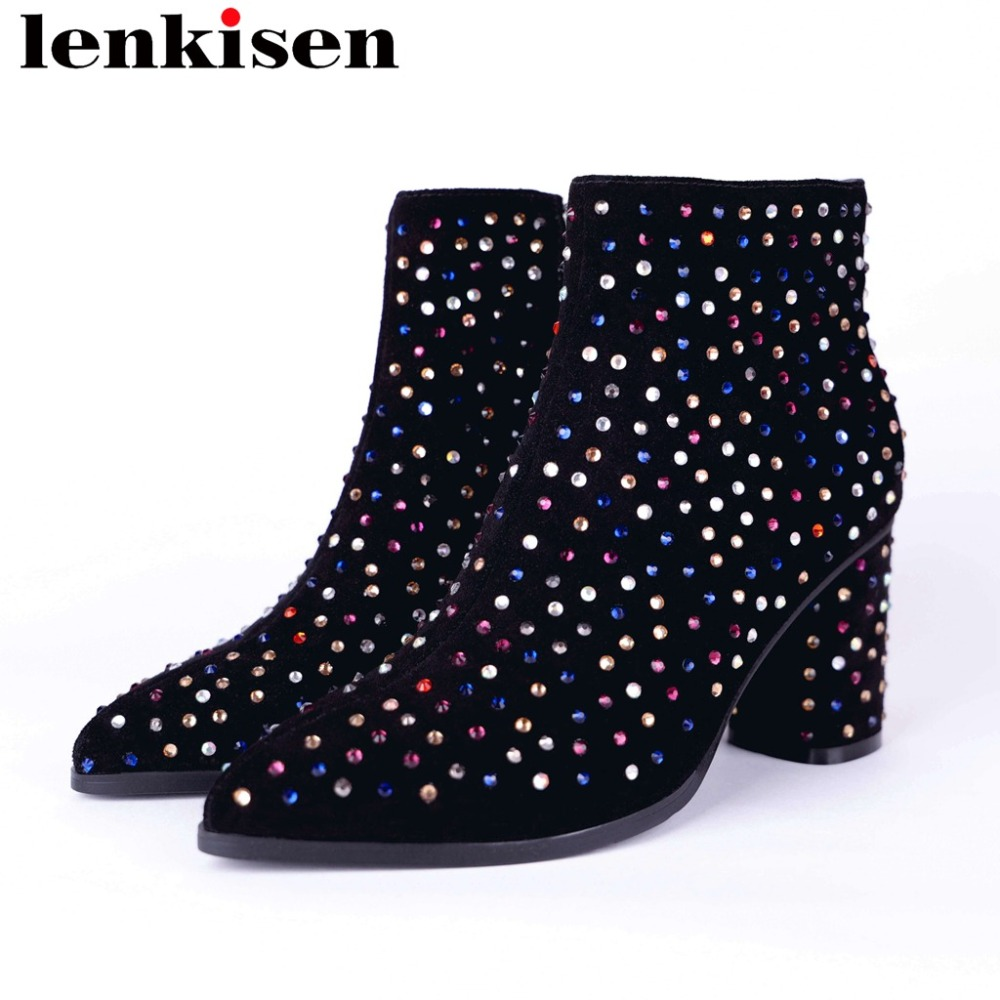 2019 handmade pointed toe thick high heels zipper colorful crystals genuine leather large size original design ankle boots L022019 handmade pointed toe thick high heels zipper colorful crystals genuine leather large size original design ankle boots L02