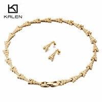 Kalen Joyería del Color del Oro de Lujo Set Collar Del Encanto de la Torre Eiffel de Acero Inoxidable Pendientes Del Collar Accesorio Del Traje Para Las Mujeres