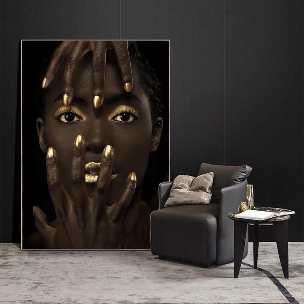 Makeup Of Black Girl Wall Canvas Art Prints Fashion Model Pop Art Wall Painting Print On Canvas Pictures Fo Home Wall Decoration