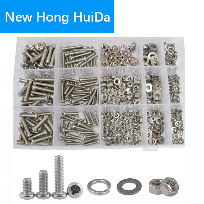 M4 M5 M6 Pan Head Machine Phillips Cross Round Metric Screw Bolt Nuts Flat Lock Washer Assortment Kit 304Stainless Steel,510Pcs m5 316 stainless steel phillips pan head machine screw marine grade