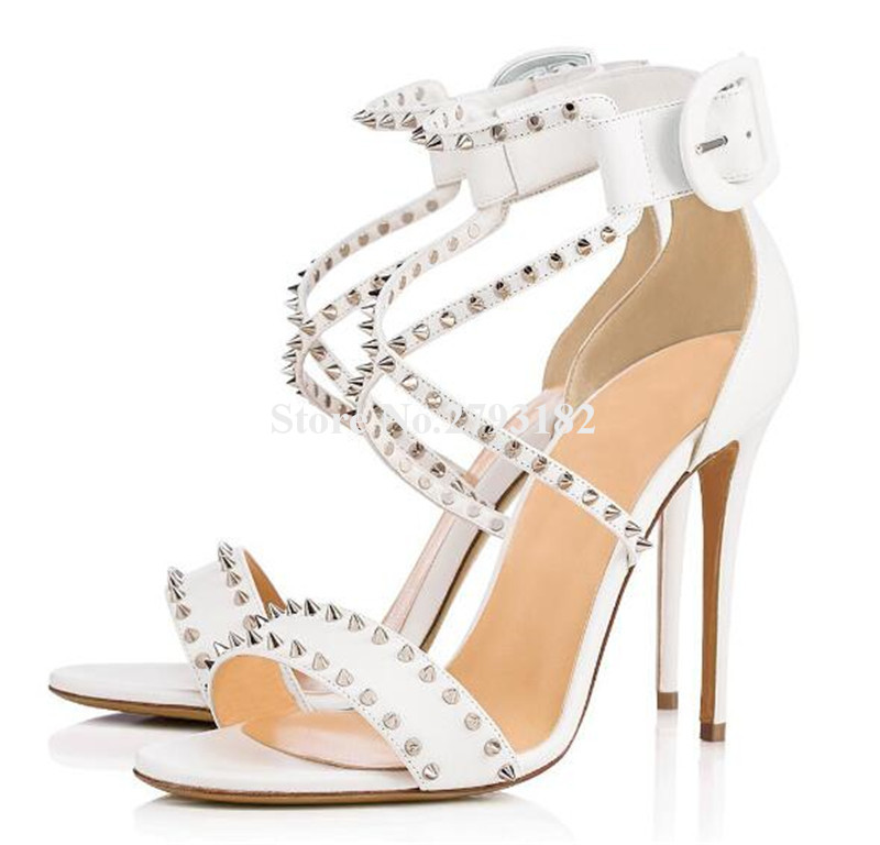 New Fashion Women Summer Open Toe White Stiletto Heel Rivet Sandals Ankle Strap Cross High Heel Sandals Formal Dress ShoesNew Fashion Women Summer Open Toe White Stiletto Heel Rivet Sandals Ankle Strap Cross High Heel Sandals Formal Dress Shoes