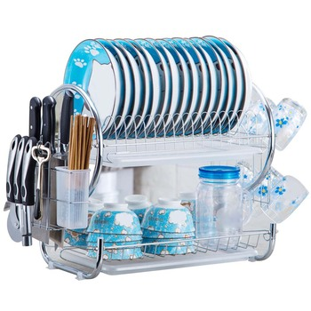2 Tier S-Shaped Stainless Steel Dish Drying Rack