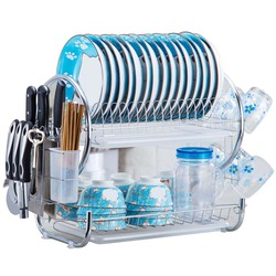 2 camada s-em forma de escorredor prato de aço inoxidável rack de secagem tigela prato de drenagem prateleira secador bandeja titular organizador da cozinha