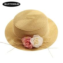 MATTYDOLIE Flower Hat Girl Summer Wide Side Flat Top Sun Outdoor Travel Beach Shade Parent-child Straw