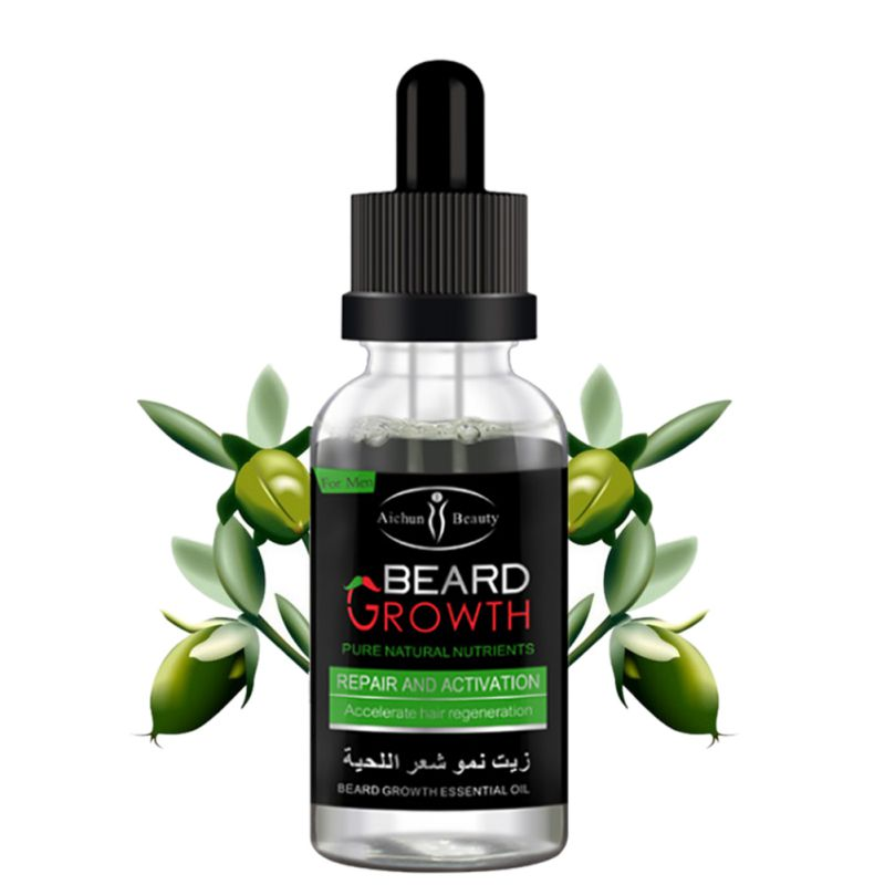 100% Natural Organic Men Beard Growth Oil Beard Wax balm Hair Loss Products Leave-In Conditioner for Groomed Beard Growth 30ml 4