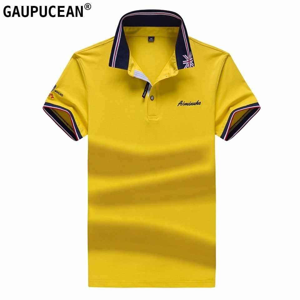 19cea89fc47 Men Polo Shirt 95% Cotton 5% Spandex Men s Tee Summer Soft Polos Embroidery  Yellow