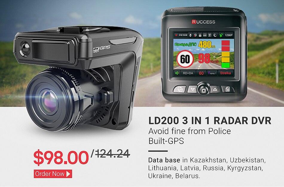Original Ruccess 3 in 1 Radar Dvr  FHD 1296P Built-in GPS Car Detector Dual lens Car Camera Anti Radar Detector Russian Speedcam 7
