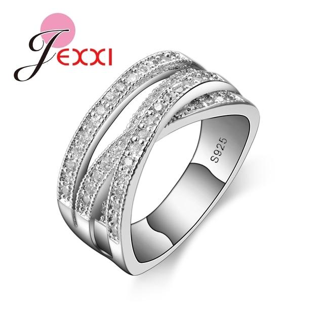 JEXXI 2019 Marca de Moda 925 Prata Esterlina Jóias Cubic Zircon Cristal Anel de Noivado Anéis de Casamento Para As Mulheres Bijoux