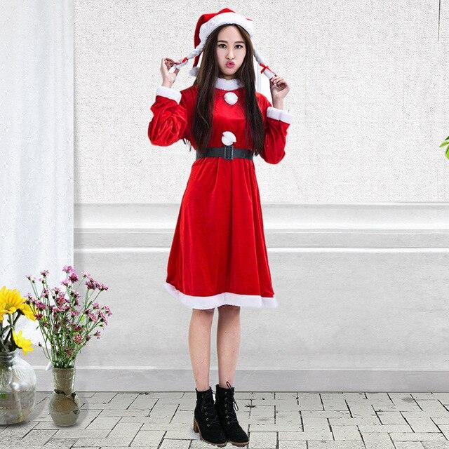 77c573ec2dd213 Volwassen vrouwelijke volwassen kerst kleding flanel dames pak dress  groothandel missy santa kostuum voor plus size