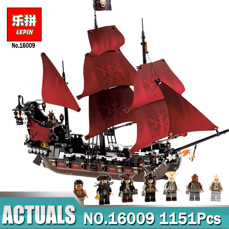 New LEPIN 16009 1151pcs Queen Anne's revenge Pirates of the Caribbean Building Blocks Set Bricks Compatible legoing 4195 lepin 16009 caribbean blackbeard queen anne s revenge mini bricks set sale pirates of the building blocks toys for kids gift
