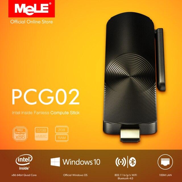 Sans ventilateur Intel PC Bâton MeLE PCG02 Quad Core Mini PC Windows 10 maison Bay Trail Z3735F 2 GB DDR3 32 GB mem LAN HDMI WiFi Bluetooth
