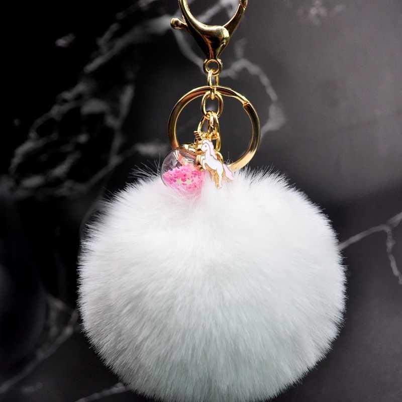 2019 ใหม่น่ารักสัตว์ Unicorn พวงกุญแจผู้หญิง PomPom Faux Rabbit FUR Ball พวงกุญแจ Star แก้ว Pom Pom Key CHAIN จี้กระเป๋า