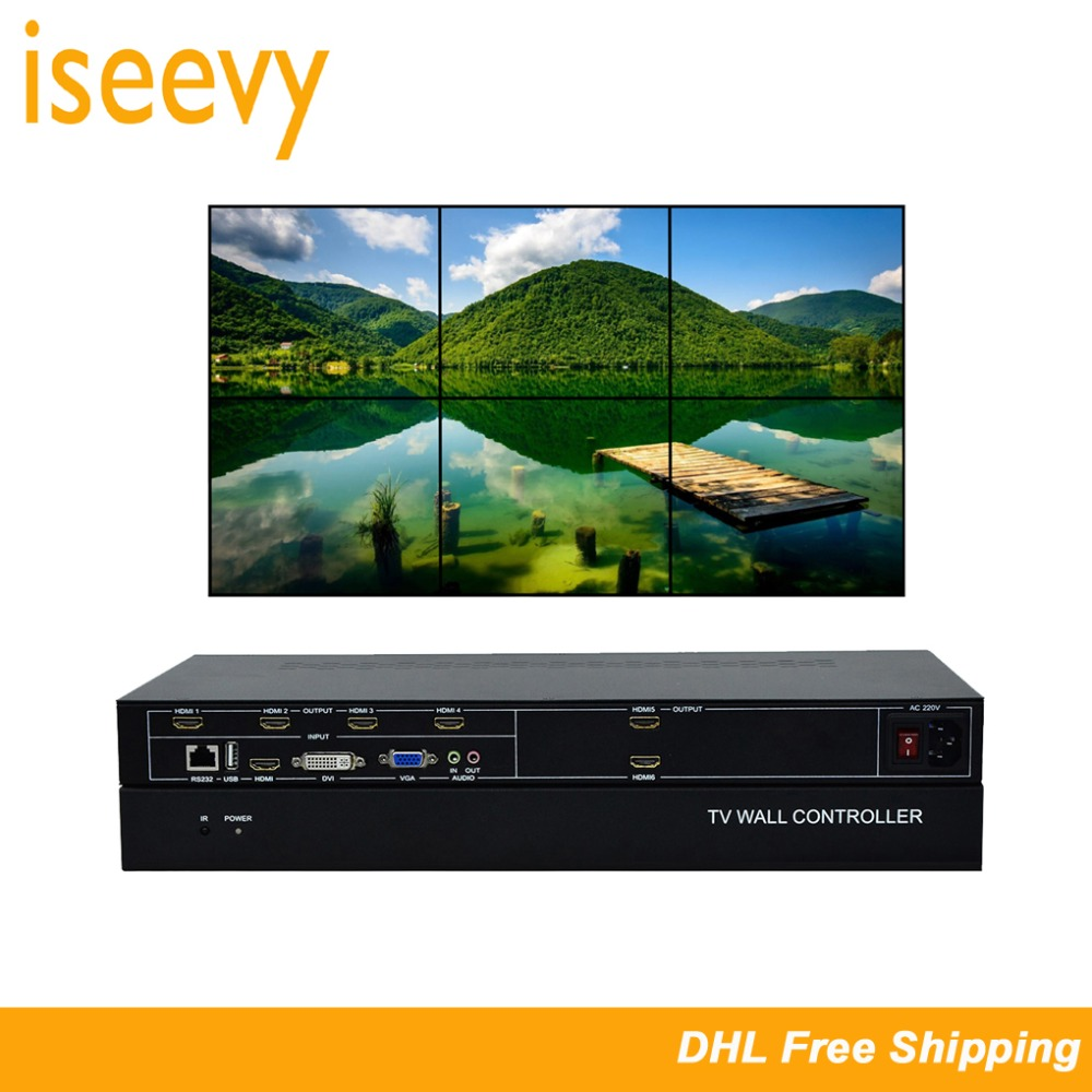 ISEEVY 6 Channel Video Wall Controller 2x3 HDMI DVI VGA USB Video Processor with RS232 Control for 6 TV Splicing