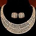 Новый пирсинг ожерелье африки ювелирные комплект свадебное макси ожерелья Pendientes золотой посеребренный выдалбливают свадебные Joyeria женщин