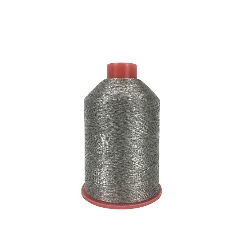 Fil à coudre en fiber d'argent (250D + 70D)/2 Polyester plaqué argent fort conducteur 250 g/pièce 3100 meters/pièce