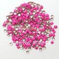 [ envío libre ] 1000 unids/lote 3 mm fluorescencia Rose del color del Punk estilo cuadrado del Metal 3D Nail Art decoración metálica espárragos