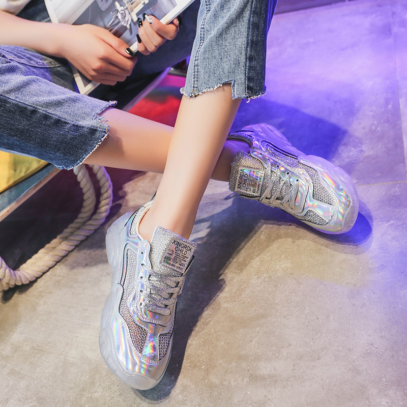 Outdoor Sneakers Women Shining Walking Shoes Casual Shoes Flat Jelly Bottom Mesh Lightweight Sliver Sport Shoes for Women in Walking Shoes from Sports Entertainment