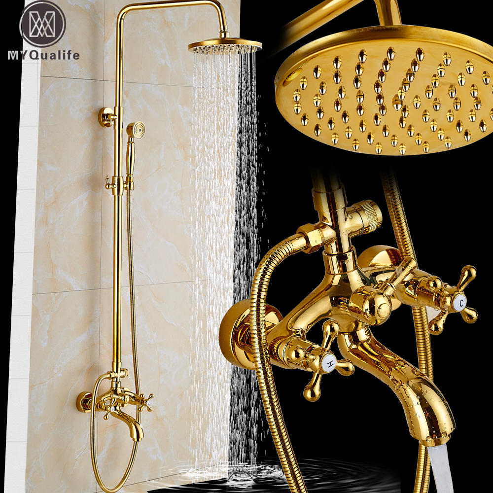Golden shower head with