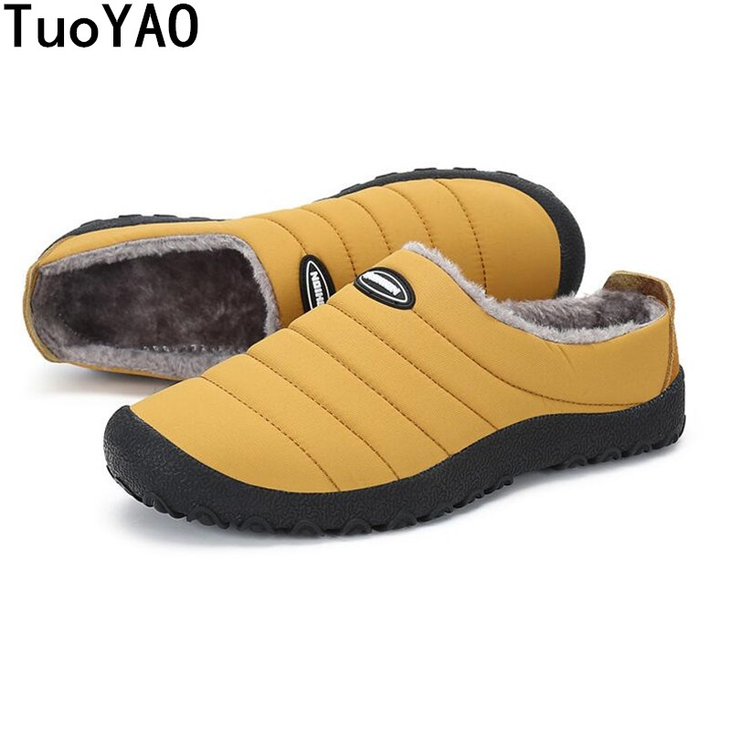 Plush Fur Men Shoes Winter Home Thermal Thickening Cotton-Padded Slippers Men Indoor\Floor Warm Slippers Flat Shoes Plus Size 46