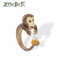 Zoeber新しい女性の夏のファッションジュエリー干支猿リングエモーション3dエナメル釉薬調節可能なリングRJ2120
