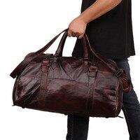 Винтажные мужские дорожные сумки из натуральной коровьей кожи, прочные Качественные большие объемные сумки из натуральной кожи, сумка тоут
