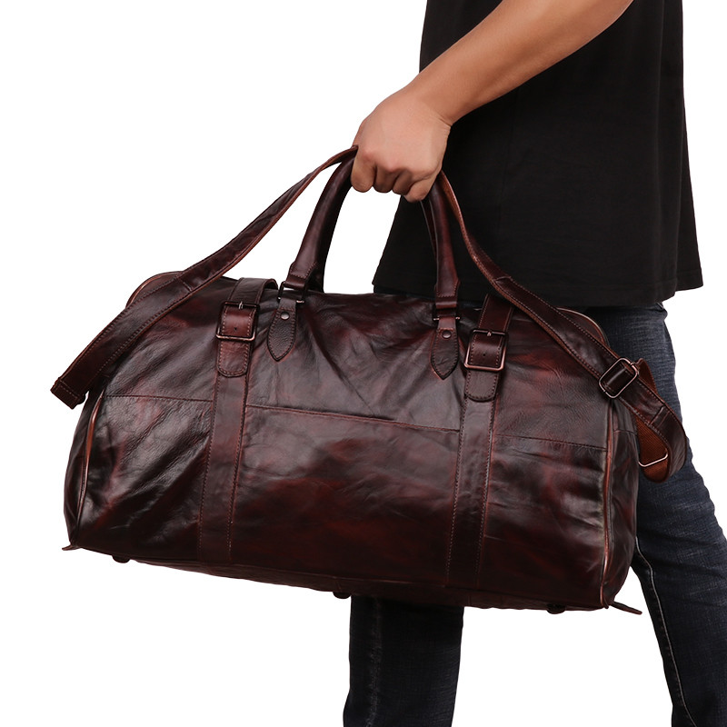 Handcrafted Exports Vintage Leather Duffel Round Shoulder Bag Brown 89