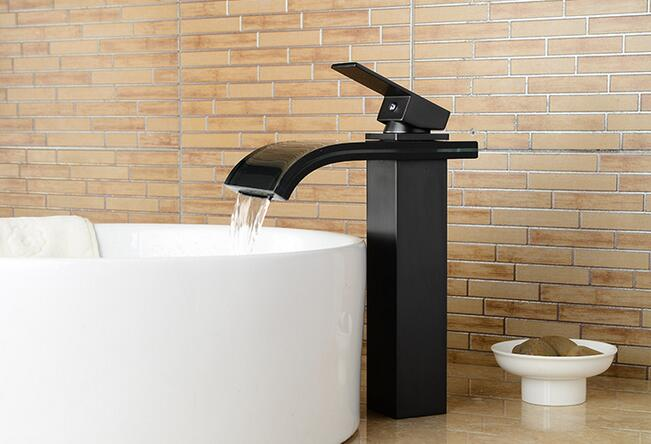 New design bathroom basin faucet black Waterfall Faucets hot and cold water single handle taps mixer