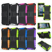 Cell Phone Case Protective Back Cover Durable Shockproof Rubber Armor Kickstand Hard Stand For Apple iPod Touch 6