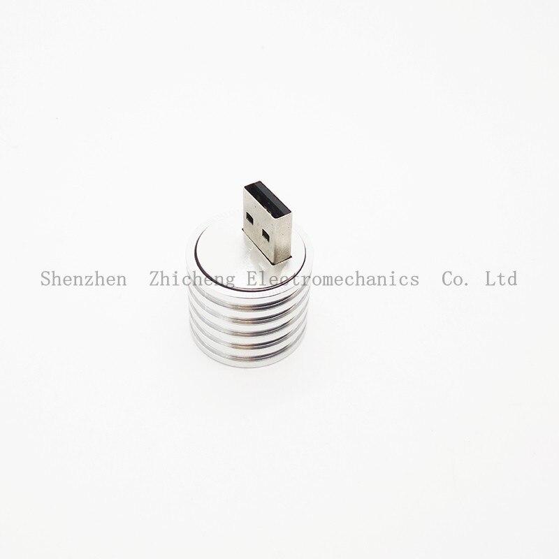 Aluminum USB LED Lamp Socket Spotlight Flashlight Strong White Light Base