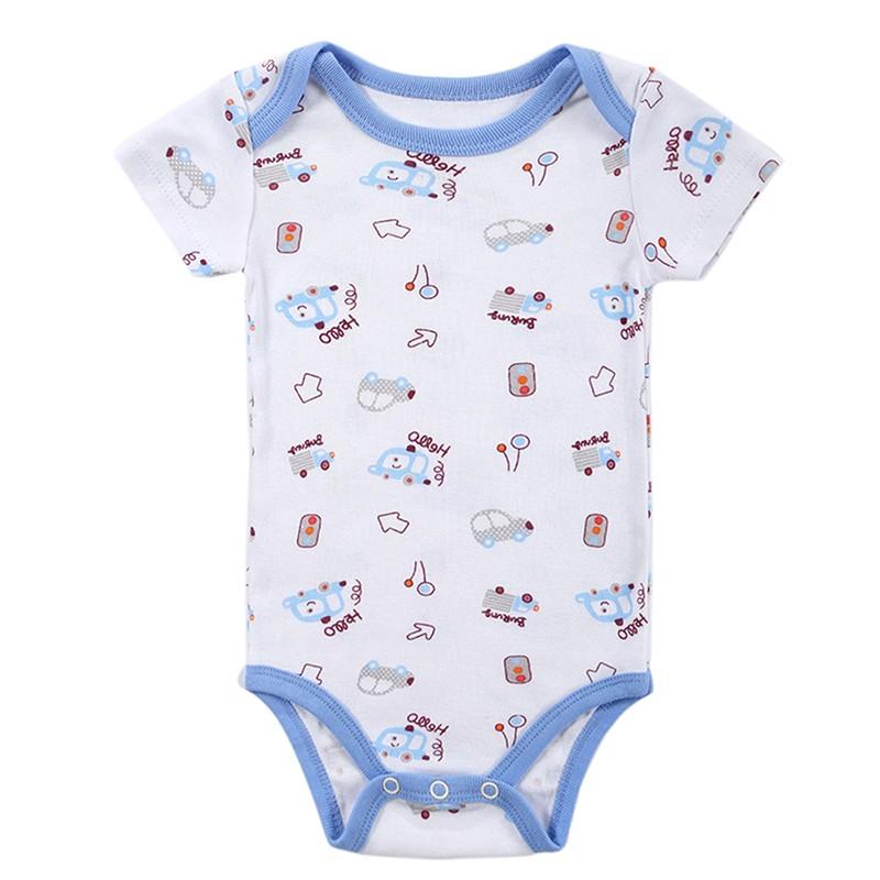DH16106 Newborn Baby Clothes Animal Print Short Sleeve Cotton Baby Boy Romper Girl Ruffle Romper roupas de bebe infantil Costumes (1)