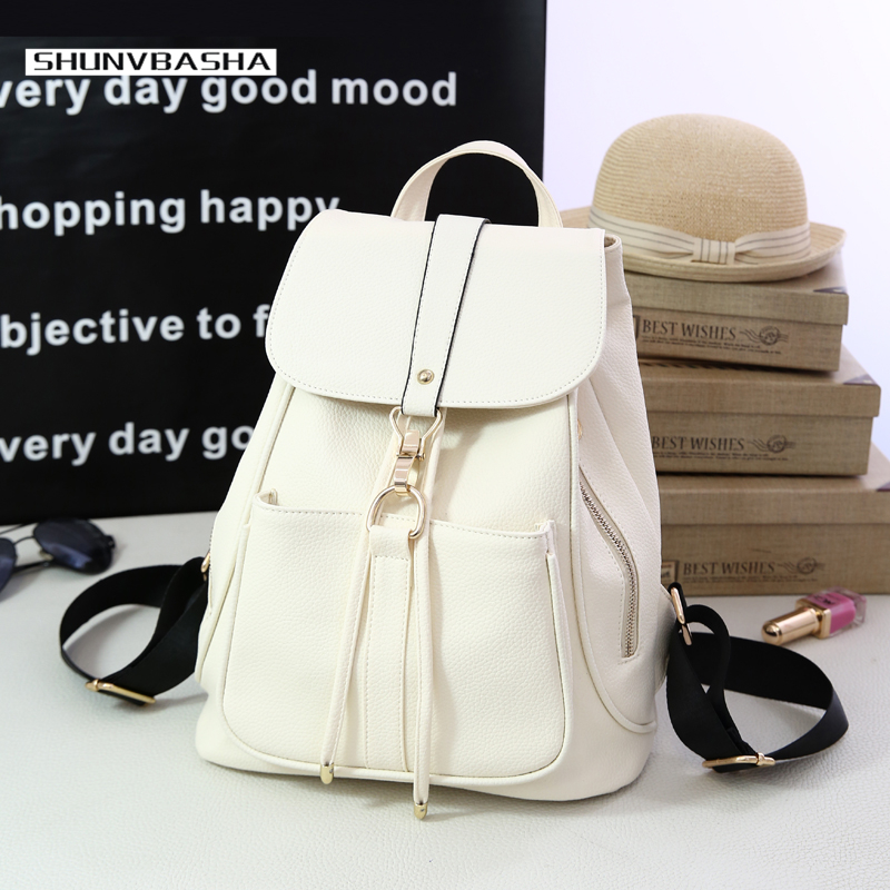 Preppy Style Backpacks For Students Fresh Zipper Cover Solid Color Soft Handle Shoulder Bags For Women